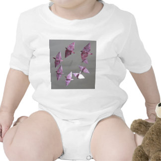 Pink Damask Origami Spiral Mobile Baby Bodysuit