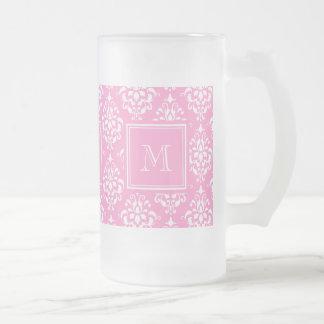 Pink Damask Pattern 1 with Monogram Frosted Glass Mug