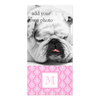 Pink Damask Pattern 1 with Monogram Personalized Photo Card