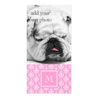 Pink Damask Pattern 1 with Monogram Photo Card Template