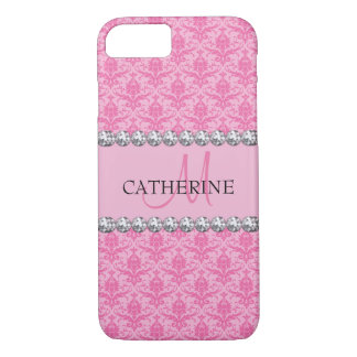 Pink Damask Pattern, Diamonds Gems, Monogrammed iPhone 8/7 Case