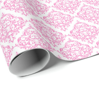 Pink Damask Pattern   DIY Background Color Wrapping Paper