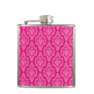 Pink Damask Pattern Print Hip Flask