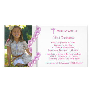 Pink Damask Pearls First Communion Photo Invite