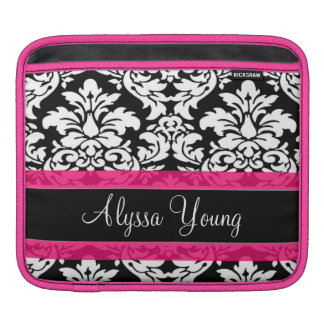 Pink Damask Personalized iPad Sleeve