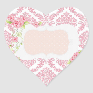 Pink Damask Personalized Stickers
