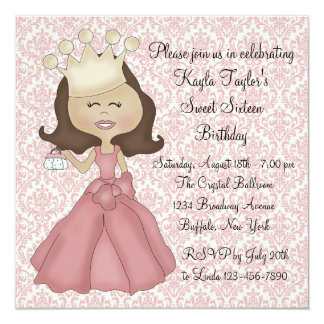Pink Damask Princess Sweet 16 Party Card