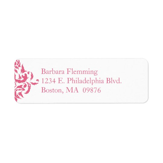 Pink Damask Return Address Label
