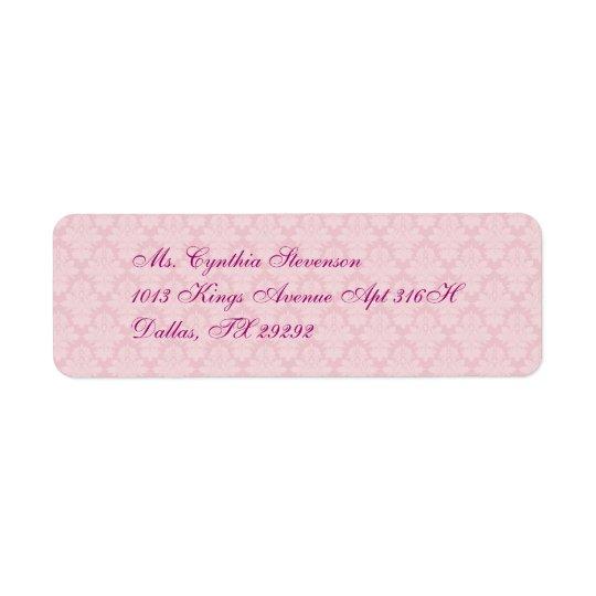 Pink Damask Return Address Label