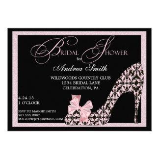 Pink Damask Shoe Bridal Shower Invitation