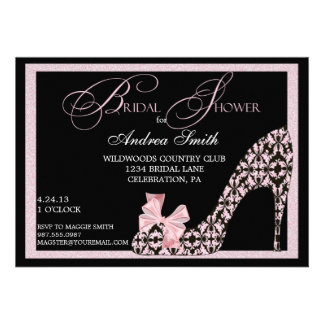 Pink Damask Shoe Bridal Shower Invitation