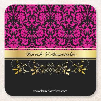 Pink Damask Square Paper Coaster
