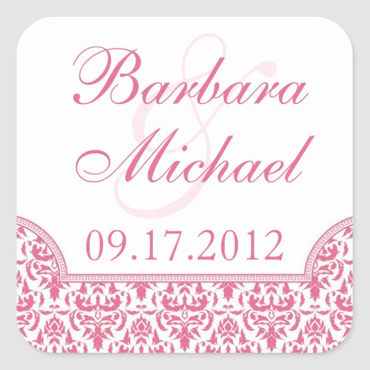 Pink Damask Square Stickers