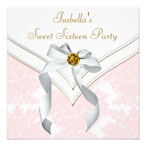 Pink Damask Sweet 16 Party Custom Announcements
