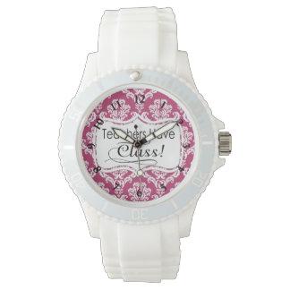 Pink Damask, Teachers Have Class Wrist Watch