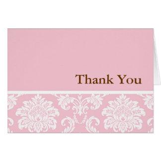 Pink Damask Thank You Card