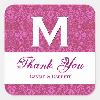 Pink Damask Thank You Monogram Wedding R318 Square Sticker