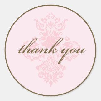 Pink damask thank you sticker