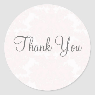 Pink Damask Thank You Stickers