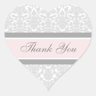 Pink Damask Thank You Wedding Envelope Seals
