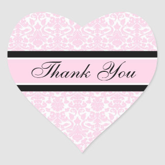 Pink Damask Thank You Wedding Envelope Seals Heart Sticker
