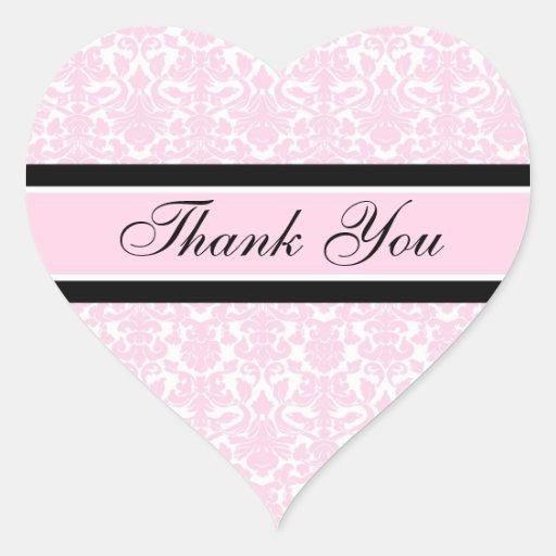 Pink Damask Thank You Wedding Envelope Seals Stickers