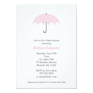 Pink Damask Umbrella Baby Shower Invites