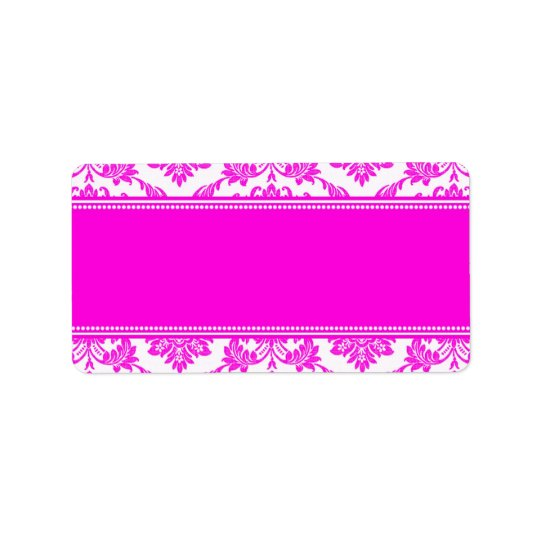 Pink Damask Wedding Address Labels