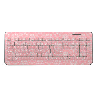 Pink Damask Wireless Keyboard