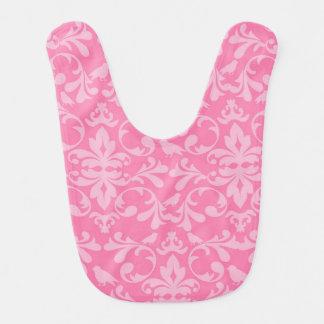 Pink Damask Baby Bib