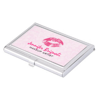 Pink Damasks Makeup Artist Design Business Card Holder