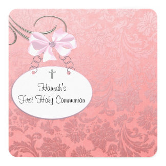 Pink Damaskt Cross Girls First Communion Card