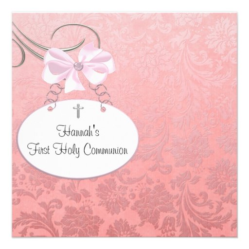 Pink Damaskt Cross Girls First Communion Invitation