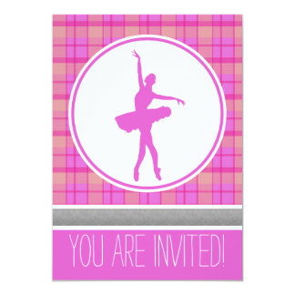 Pink Dancer Sweetheart Plaid Party Invitation