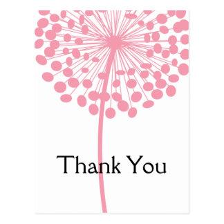 Pink Dandelion Flower Thank You Postcards 2