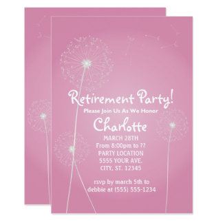 Pink Dandelion Retirement Party Invitations