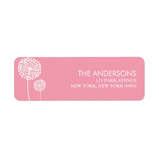Pink Dandelions Return Address Label