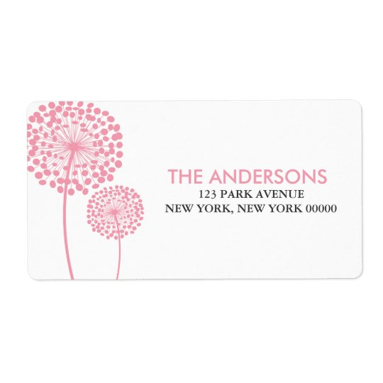 Pink Dandelions Shipping Label