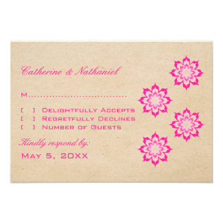 Pink Daring Floral Blooms Response Card Announcements