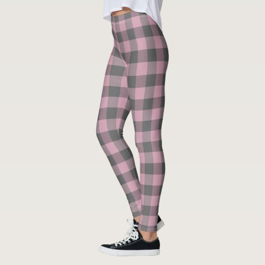 pink dark grey chequered plaid leggings