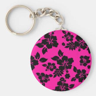 Pink Dark Hawaiian Basic Round Button Keychain