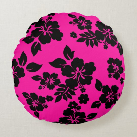 Pink Dark Hawaiian Round Pillow