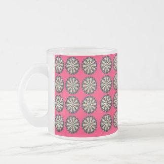 Pink Dartboard Bullseye Pattern, Frosted Glass Coffee Mug