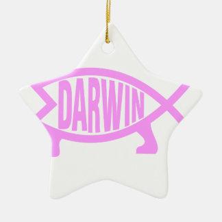 Pink Darwin Fish Ceramic Ornament