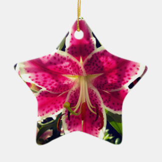 Pink Day Lily Ceramic Ornament