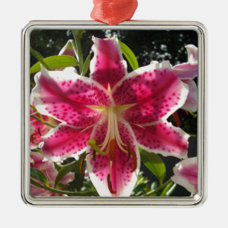 Pink Day Lily Silver-Colored Square Ornament