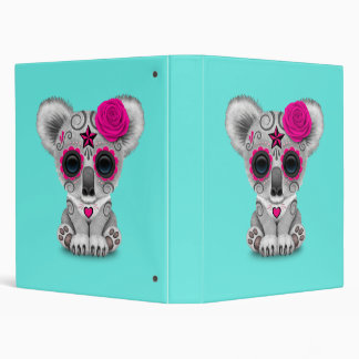Pink Day of the Dead Baby Koala 3 Ring Binders