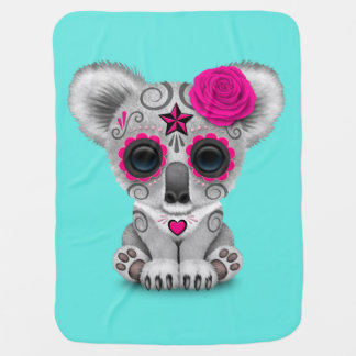 Pink Day of the Dead Baby Koala Baby Blanket