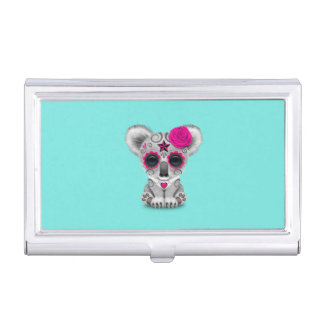 Pink Day of the Dead Baby Koala Business Card Holder