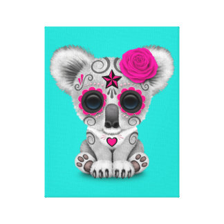 Pink Day of the Dead Baby Koala Canvas Print